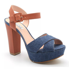 Sandália Salto C/ Meia Pata Feminina Lialine-jeans/caramelo