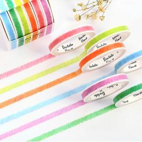 Washi Tape Lápis De Cor Kit Com 6 Fitas De 3 Metros Caixa