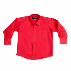 Camisa Manga Larga De Vestir Rojo Roja Con Tirantes Y Moño