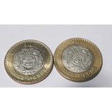 2 Monedas 10 Pesos Año 2007 Grafila Invertida Circuladas