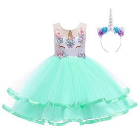 Vestido De Unicornio Con Diadema Niñas Color Verde De Obeeii