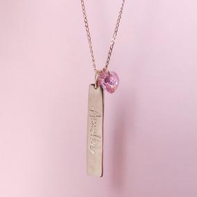 Collar Plaquita Nombre Grabado Con Cristal Swarovski