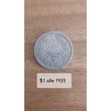 Moneda Chilena 1 Peso Año 1933