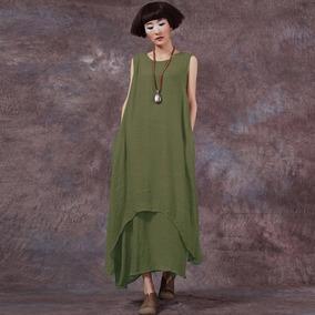Vestido Informal De Mujer Suelta Con Cuello Redondo