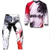 Conjunto Calça E Camiseta Skull Racing Mx Dh Moto Tam P