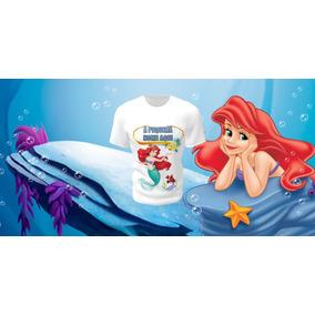 f5cbe56e05 Camiseta Camisa Blusa Personalizada Disney Pequena Sereia