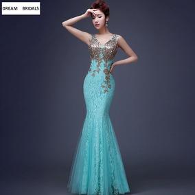 Vestido coctel azul turquesa