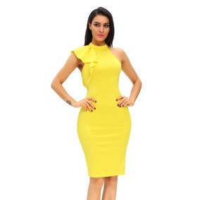 Vestido Sexy Amarillo Moderno Asimétrico Con Olan 61094