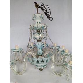 Lustre Cristal Italiano Maravilhoso Azul Lapidado Antigo