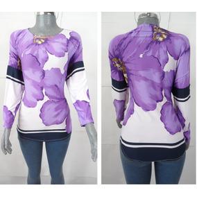 Blusa Dama Manga Larga Color Morado Diseño Flor 33bl13