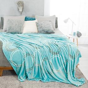 Cobertor Ligero King Y Queen Nuba Azul Vianney Círculos Gris