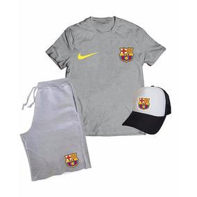 Kit Barcelona Esporte Camiseta Boné Bermuda Time Promoção d29b3e1041b84