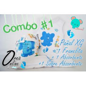 Combo Pañal Ecológico Xg +1 Franelita +1 Abs. +1 Sobre Abs.