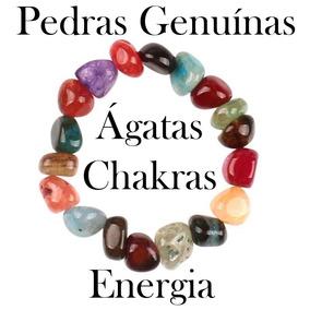 Pulseira De Ágata Mista - Chakras Energia - Pedras Naturais