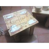 Mesa De Madera Reciclada Y Pintada A Mano Tipo Vintage