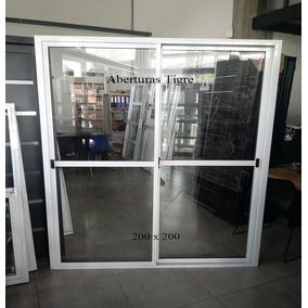 Puerta Ventana Balcón Aluminio Blanco 200x200 Vidrio 4mm