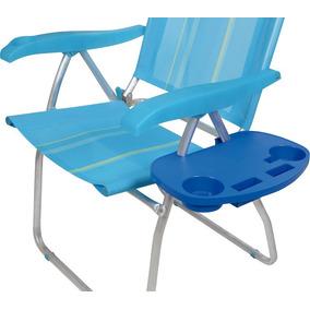 Mesa Para Cadeira Portátil Copos Azul De Praia Camping Mor
