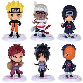 Kit 6 Boneco Action Figure Naruto Sasuke Gaara Itachi Killer