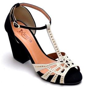 86c64a25f Sandalia De Salto Baixo Festa Feminino Sandalias - Sapatos no ...