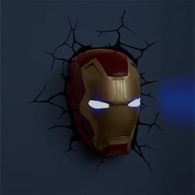 Luminária Parede 3d Light Fx Máscara Homem De Ferro Marvel