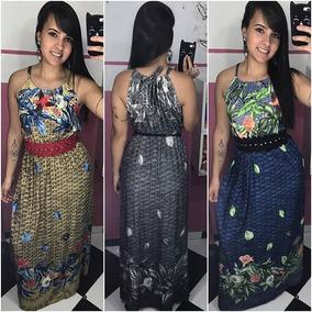Vestido Feminino Longo Regata Estampado Moda Evangelica