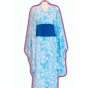 Kimono / Yukatas C/ Obi Talla S/m Japón Azul Blanco Floreado