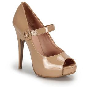 ce32cebedc Peep Toe Salto Feminino Lara Nude - Sapatos no Mercado Livre Brasil