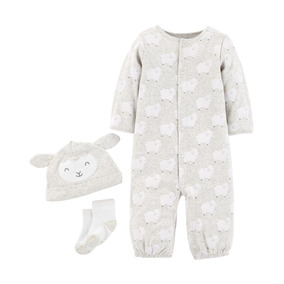Set Carters Gorro, Medias Y Body Gris