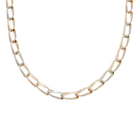 Collar De Eslabón Encontrado Laminado En Oro Tres -139438787