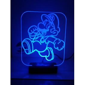 Troféu Luminária Led Mario Bros Pikachu Mickey Unicórnio