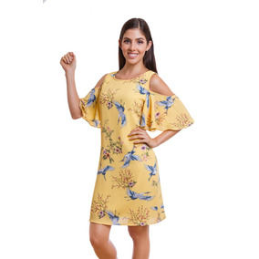 Vestido Corto Amarillo Con Olan En Mangas Devendi Denim Co.