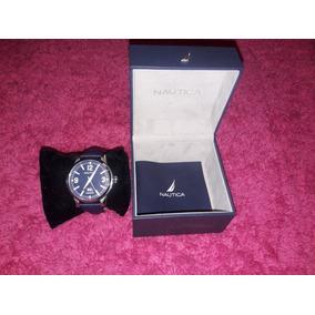 Reloj Nautica Azul Fechador Con Estensible Piel Azul