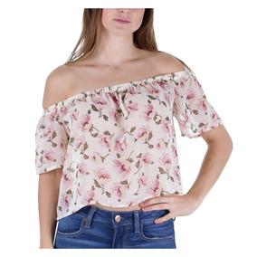 Blusa Strapless Traslucida Con Estampado Floral Dama