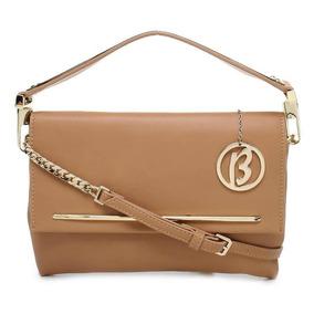 Bolsa Tiracolo/mão Envelope Birô Bege/ Dourado