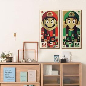 2x Poster Quadro Cartaz Game Super Mario Bros E Luigi