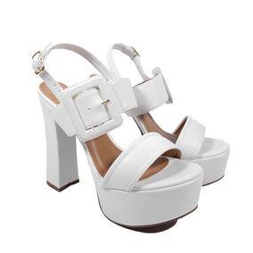 Sandália Salto Alto Branca, Com Meia Pata, Só 34 E 35