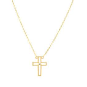 Gargantilha Religiosa Folheado Ouro 18k Bela Cruz 531751