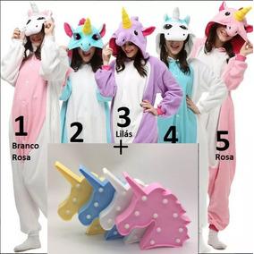 Kit Presente Pijama Unicórnio Kigurumi +1 Luminaria Unicorni