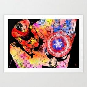 Pôster Civil War Marvel Cap America, Arte Decoração Print