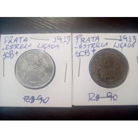 2 Moedas 1000 Réis 1913 Prata República Estrelas Ligadas