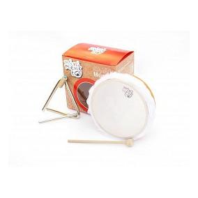 Minimento Caja De Instrumentos Parche Y Metal Pandero+triang