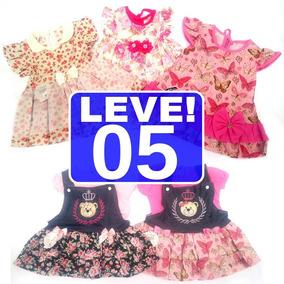 Kit Lote 5 Vestido Infantil Feminino Roupa Menina Atacado