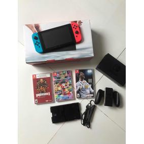 Nintendo Switch Zerado C/ 3 Jogos + Suporte