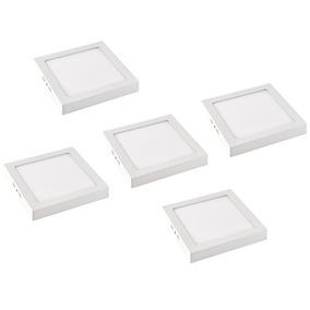 Kit 5 Plafons Led Sobrepor Quadrado 18w Luz Branco Frio