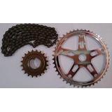 Kit Relação Bike Monark Caloi Mtb, Catraca Corrente Coroa