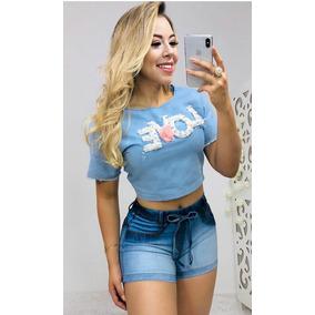 Blusa Blusinhas Jeans Love Barato Roupas Femininas Promocao