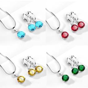 Set Aretes Y Collar De Plata Pura Ley .925 Zirconia
