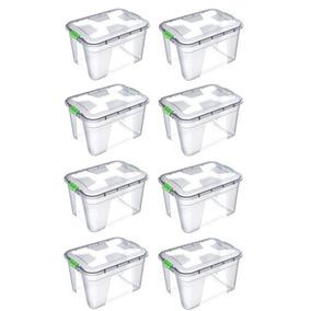 Caixa Organizadora Multiuso Plástica 12 Litros Kit 8 Peças