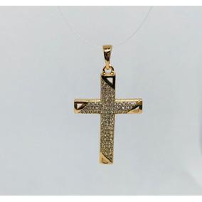 Dije Cruz Oro 18k Laminado Con Incrustaciones De Zirconia