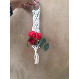 Arreglos Artificiales Tejido Macramé Rosas Rojas